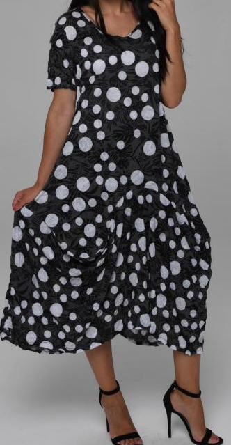 Black and White Lightweight Crinkle Dress