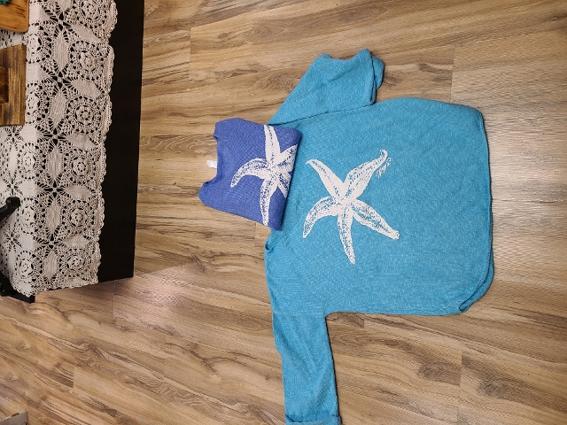 One Size Artsy Painted Starfish Sweaters