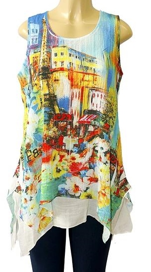 Bright Colored Sleeveless 2 Piece Layered Top