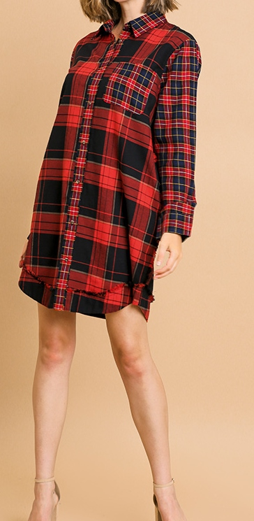 Plaid Print Long Sleeve Frayed Hem Dress