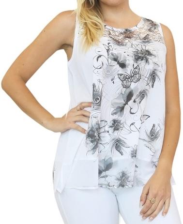 Sleeveless Black and White Lace and Chiffon Top
