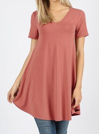 Short Sleeve V-neck Round Hem Tunic