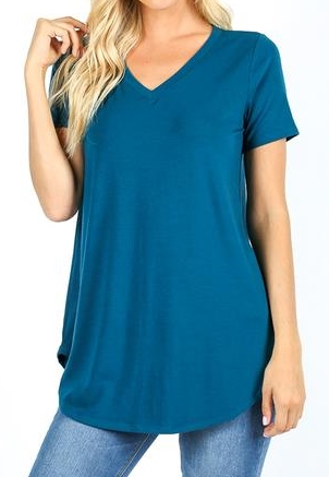 Rounded Hem V-neck Tunic or Top
