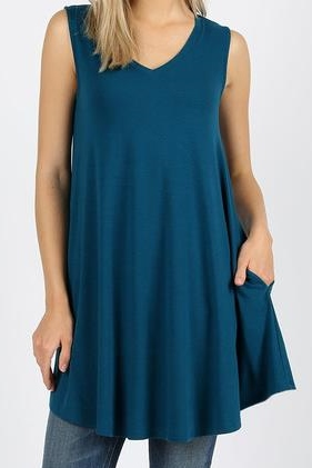 Sleeveless V-neck Round Hem Tunic