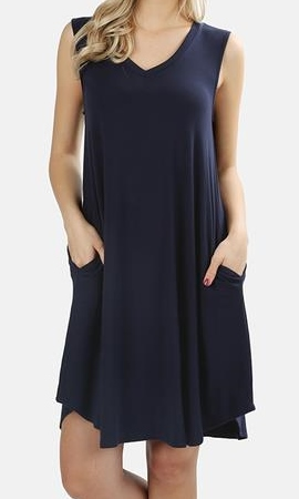 Sleeveless V-neck A-Line Dress or Tunic