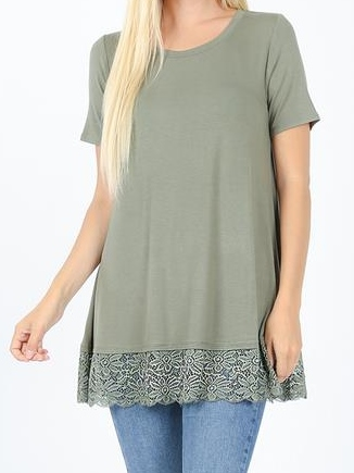 Lace Bottom Tunic Top
