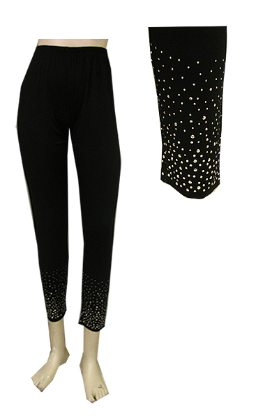 Black Long Leggings with Rhinestones