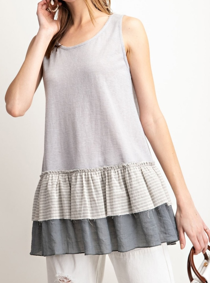 Sleeveless Double Ruffled Tunic