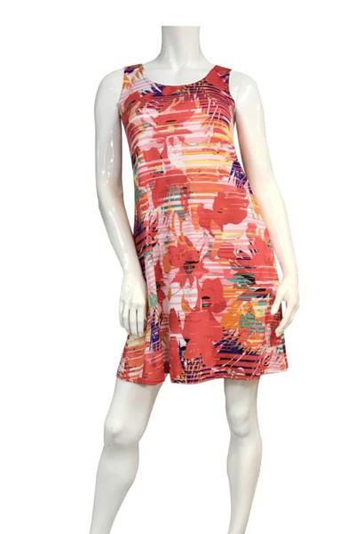 Coral Print Sleeveless Swing Dress