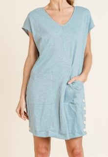 Front Pocket Side Button Dress or Cover up