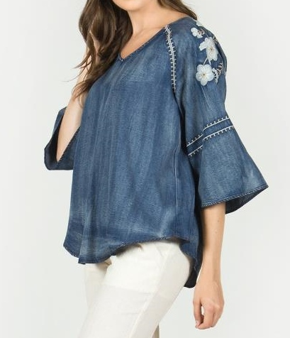 Denim Embroidery V Neck Top