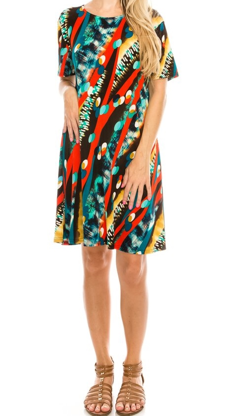Short Sleeve Coral Multi Color Dress