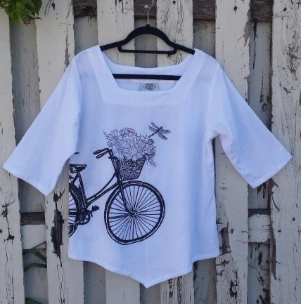 Black and White Cotton Bike Top