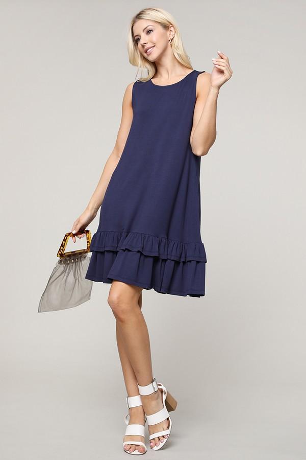 Sleeveless Double Ruffle Dress