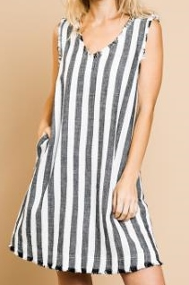 Striped Sleeveless Fray Hem Dress