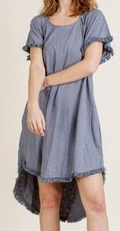 Short Sleeve High Low Fishtail Ruffle Hem Dress