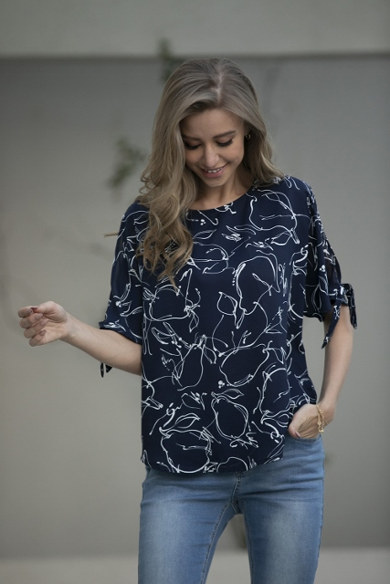 Navy and White Printed Top with Tie Sleeves