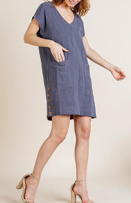 V Neck Button Side Dress