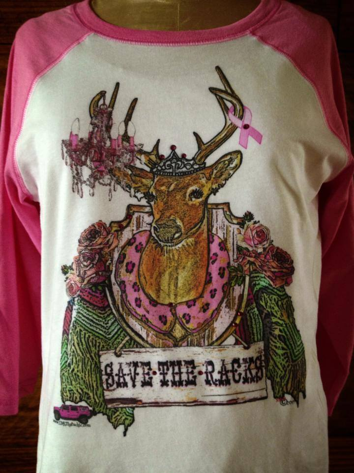 Save The Racks Pink Sleeved Blinged Tee