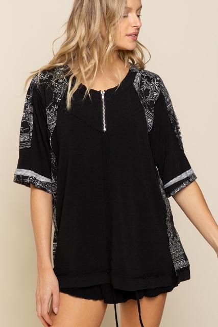 Black Paisley Zip Shirt