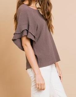 Short Layered Ruffle Sleeve Top