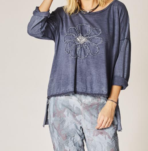 Denim Blue Embroidered Flower Shirt