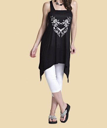 Black Tunic with Blinged White Heart
