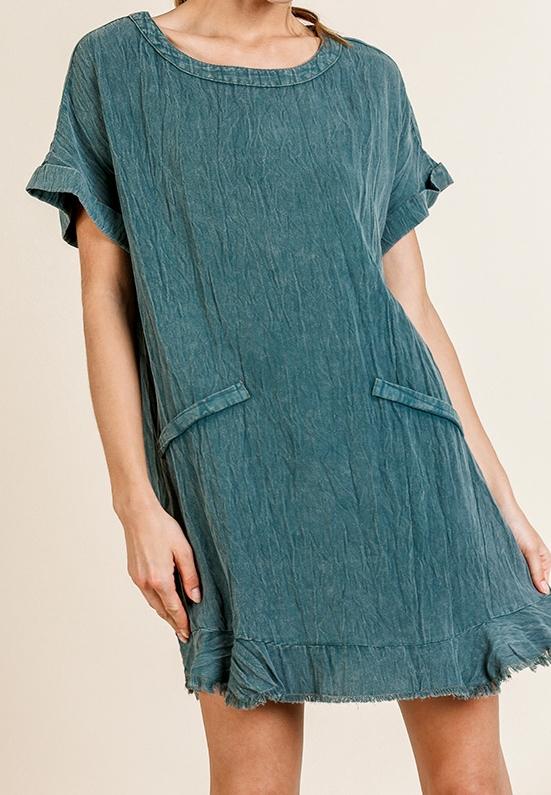 Fun Folded Sleeve Faux Pocket Dress
