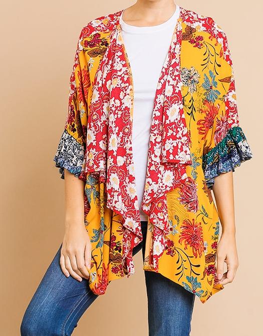 Floral Mixed Print Kimono