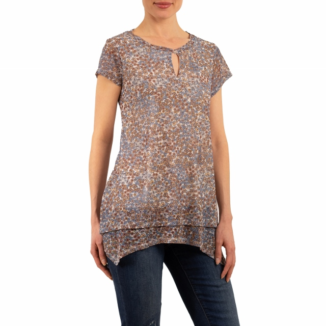Beautiful Capped Sleeve Spice Floral Blouse