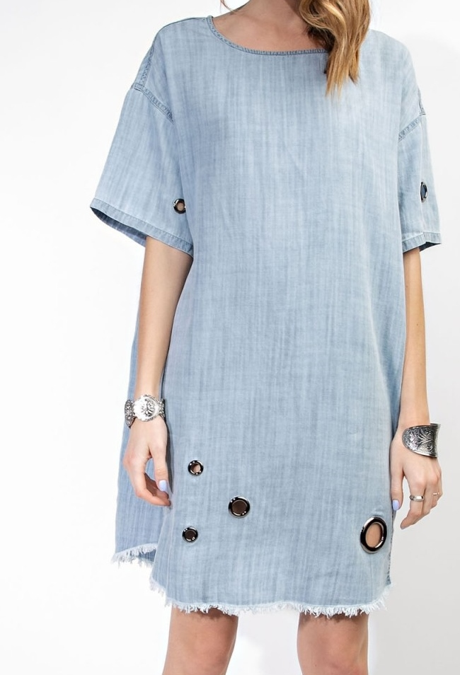 Washed Denim Eyelet Detailed Dress