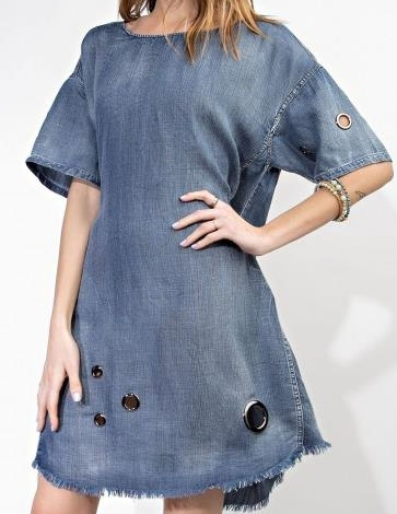 Dark Denim Grommet Detailed Dress