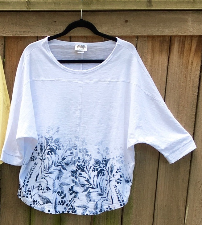 Denim and White Scooped Neck Flowered Top