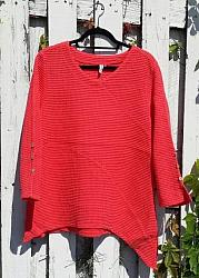 Red Waffle Cotton Tunic Top