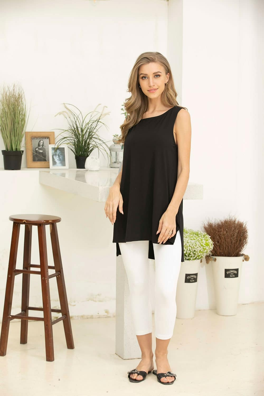 Swing Style Bamboo Sleeveless High Low Top