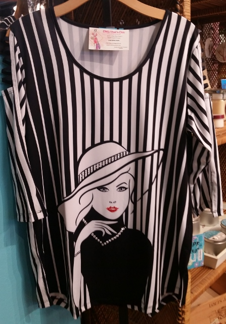 Black and White Stripe Lady Face Tunic Top - UPF 50+