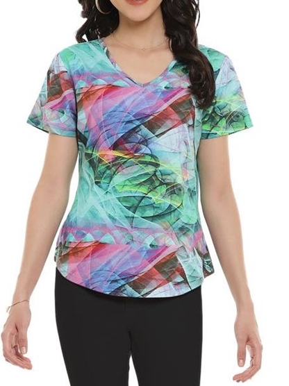 Aqua and Brown Bell Sleeved Tunic