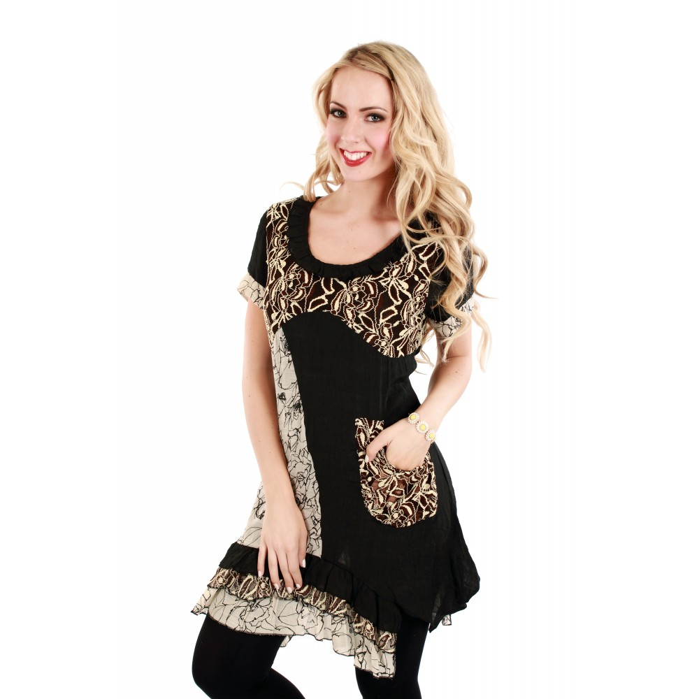 Black and Beige Lace Tunic
