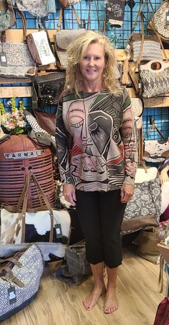 3/4 Sleeve Face Art Lightweight Sweater