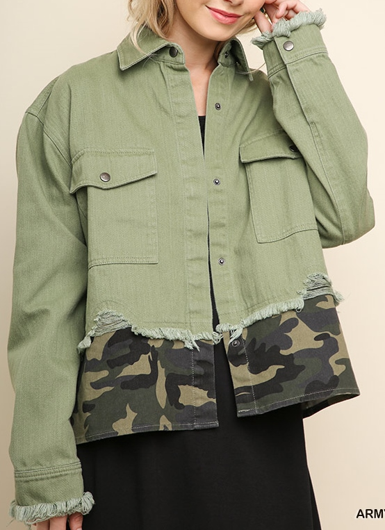Denim and Camo Print Jacket