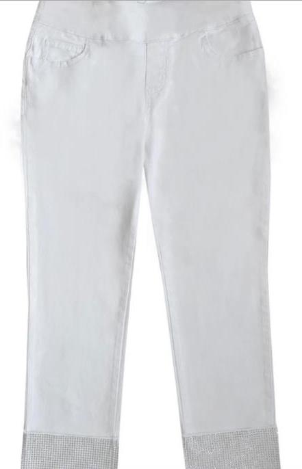 White Bling Capri Jean Pant
