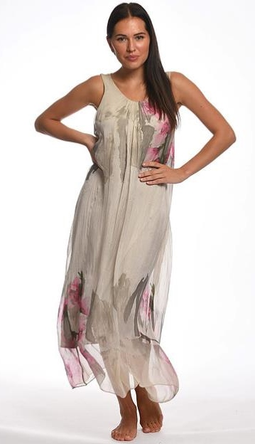 Flowy Floral Silk Sleeveless Dress