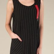 Black Stripped Sleeveless Zipper Dress