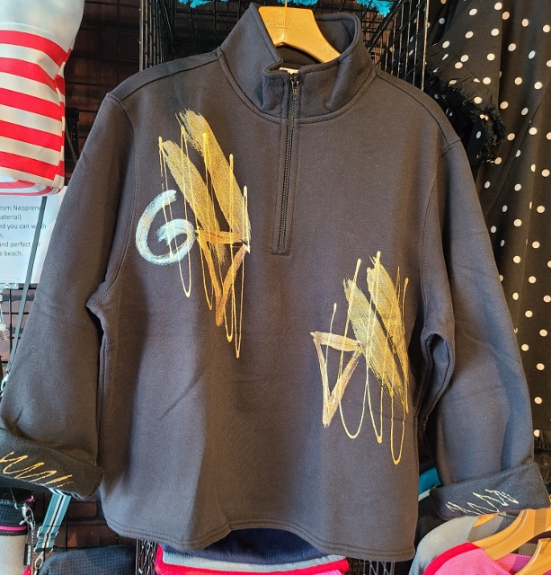 Black and Gold Abstract Zipper Fleece Jacket
