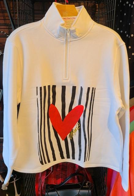Zebra Heart Zipper Fleece Jacket
