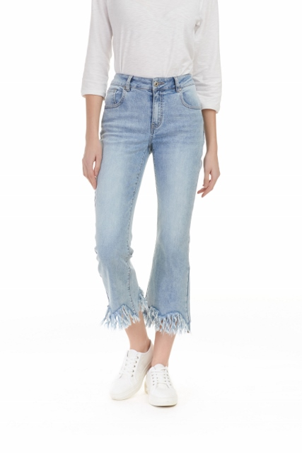 Wide Leg Frayed Denim Jeans