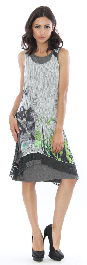 Raven Grey and Lime Combo Dress