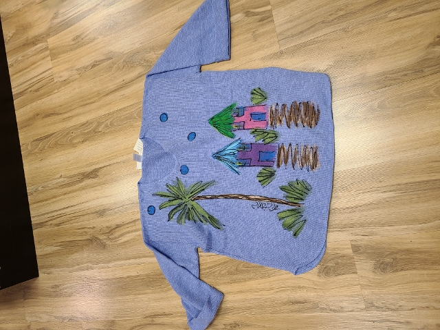 One Size Artsy Painted Palm Hut Sweaters