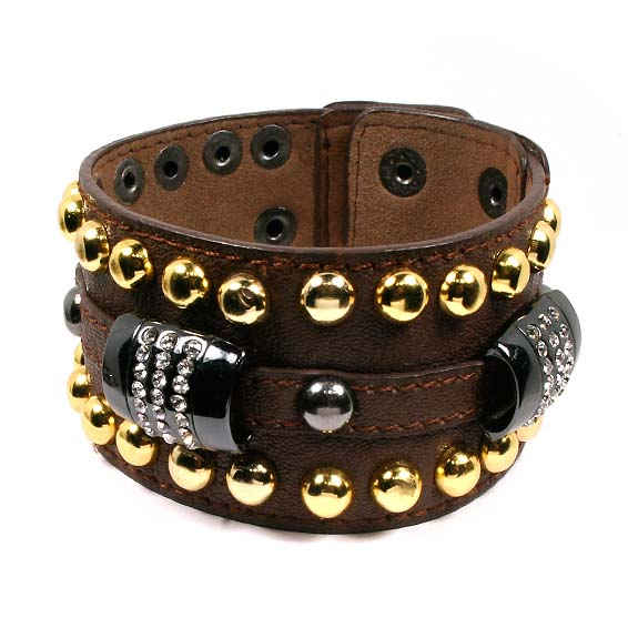 Brown Barrel Snap Bracelet