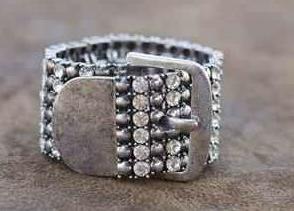 Wide Rhinestone Buckle Bracelet